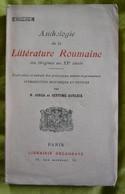 Anthologie De La Littérature Roumaine, Des Origines Au XXe Siècle - Poésie