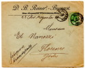 Lettre De Bucarest Pour Florence (Italie)_5 Bani Vert - Marcophilie