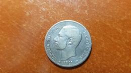 ALFONSO XII  1 PESETA PLATA 1881  *18/81      NL154 - [ 1] …-1931 : Reino