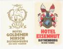 2 ETIQUETTES HOTELS ALLEMAGNE - ROTHENBURG OB DER TAUBER - Etiketten Van Hotels