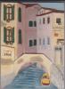 Bas-relief En Plâtre Peint Représentant Un Canal De Venise Avec Vaporetto, Enseignes, Pont, San Toma - Sculptures