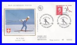 2678 (Yvert) Sur FDC Illustrée Sur Soie - Albertville 92 Jeux Olympiques D´hiver Ski De Fond - France 1991 - FDC
