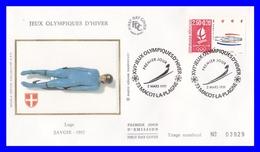 2679 (Yvert) Sur FDC Illustrée Sur Soie - Albertville 92. Jeux Olympiques D´hiver Luge - France 1991 - FDC