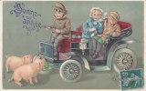 CARD BUON ANNO  MAIALINI BIMBI VECCHIA AUTO  QUADRIFOGLIO  IN RILIEVO   -FP-V-2-0882-13491 - Cochons