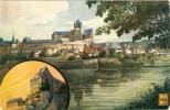 Diez An Der Lahn, Künstlerkarte Mit Schloss,  Bahnpoststempel Wiesbaden - Limburg, 1909 - Allemagne
