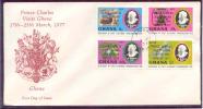 GHANA  Enveloppe FDC  1977  Yvert  N° 569 / 572 Visite Du Prince Charles - Ghana (1957-...)