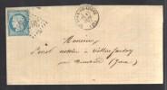 FRANCE 1871 N° 60 Obl. S/Lettre Entiére GC 3671 Petit  C à D St. Jean De Losne - 1871-1875 Cérès