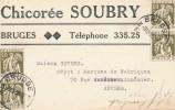 929/18 - Carte Privée TP Cérès 10 C X 4 BRUGGE 1935 - Entete Chicorée Soubry - 1932 Ceres En Mercurius