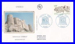 109 (Yvert) Sur FDC Illustrée Sur Soie - U.N.E.S.C.O. Patrimoine Universel Citadelle D´Herat Afghanistan - France 1991 - FDC