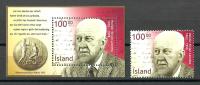 Iceland 2002 ( Halld'or Laxness (1902-98), 1955 Nobel Literature Laureate ) - Stamp + MS - MNH (**) - Nobelpreisträger