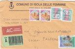 ISOLA DELLE FEMMINE (PA)  /  SICILIA  - Tematica  Comuni D´Italia - Storia Postale  Repubblica - Affrancature Meccaniche Rosse (EMA)
