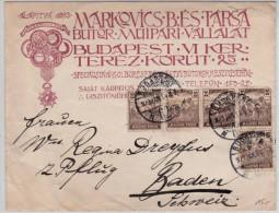 HUNGARY - 1920 - ENVELOPPE PUBLICITAIRE De BUDAPEST Pour BADEN (SUISSE) - Marcophilie