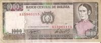 BILLETE DE BOLIVIA DE 1000 PESOS  DEL AÑO 1982 SERIE K    (BANKNOTE-BANK NOTE) - Bolivia