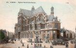 CPA Colorisée Animée - PARIS (1er) - Eglise Saint Eustache (diligences) - 1907 - Distrito: 01