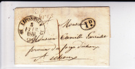 LANDES - 1841 - RARE CURSIVE De SABRES Avec DECIME RURAL Sur LETTRE Avec OBLITERATION De LIPOSTHEY - Storia Postale