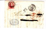 N°8(bien Margé Dont 2 Voisins)P 25/CHARLEROI S/LAC Du 25 JANV 58+BELG/VALnes (adresse Biffée) - 1851-1857 Médaillons (6/8)