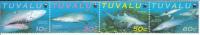 Tuvalu MNH Scott #816 Strip Of 4 Sand Tiger Shark - World Wide Fund For Nature - Tuvalu