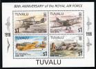 Tuvalu MNH Scott #767 Souvenir Sheet Of 4 $1 Planes - 80th Anniversary Of The Royal Air Force - Tuvalu