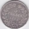 Piece 5 Francs Argent 1845W - Louis Philippe I - J. 5 Francos