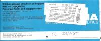 Ticket d�avion -  Brussels-Kuala Lumpur (Malaysia)-Brussels - 23FEB85 - Sabena + various luggage tags