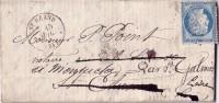 LOIRE-ST HEAND TYPE 16 - 15 JUILLET 1875 N°60 OBLITERATION GC3656-INDICE10-COTE 65€ -LETTRE AVEC TEXTE-TIMBRE DEFECTUEUX - Marcophilie (Lettres)