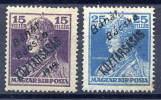 BANAT BACSKA 1919 Overprint On Karl With Köztarsasag MH / *.  Michel 37-38 - Banat-Bacska