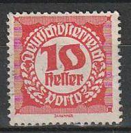 Austria 1920 Scott J76 Sello º Cifras Numeros Porto 10h Usado Stamps Timbre Autriche Briefmarke Österreich Francobolli - 1918-1945 1ra República