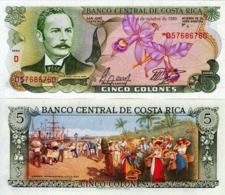 COSTA RICA 5 COLONES FOREIGN PAPER MONEY BANKNOTE CURRENCY - Costa Rica