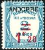 ANDORRE 1931 - Yv. Taxe 13 * TB Variété TPP  Cote= 92,00 EUR - Recouvrements, Taxe à Percevoir, Surch. ..Réf.AND13690 - Timbres-taxe