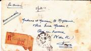 ALGERIE - 1947 - ENVELOPPE MILITAIRE (19°GENIE) RECOMMANDEE De HUSSEIN-DEY Par AVION Pour AIX EN PROVENCE - ARMOIRIES - Algeria (1924-1962)