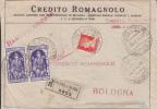 STORIA POSTALE BUSTA DA LETTERA FRONTESPIZIO TIMBRO RACC PRADURO E SASSO BOLOGNA 20-4-1934 CREDITO ROMAGNOLO PUBBLICITA´ - Pubblicitari