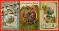 CPA Thanksgiving (LOT De 3) * Post Card USA Dinde Turkey Gaufrée Embossed - Thanksgiving
