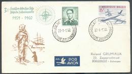 Belgique 3ème Expédition Antarctique Belge 1959-1960 Obl. Sc BASE ANTARCTIQUE BELGE 22-1-1960 Vers Borgerhout  - 7602 - Polar Philately