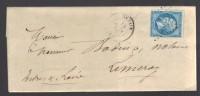 FRANCE 1866 N° 22 Obl. S/Lettre Entiére GC 2727 C à D Onzain - 1862 Napoleon III