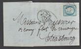 FRANCE 1871 N° 60 Obl. S/Lettre Entiére Taxée GC 1402 Petit C à D Epinal Pour Strasbourg - 1871-1875 Ceres