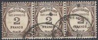 FRANCE -Bande De 3 Du 2 F. Sépia Oblitérée  TTB - Taxes