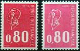 Marianne De BEQUET** – 80 C Rouge – 2 Nuances - YT 1816d (rouge Foncé) & 1816 (rose). - Errors & Oddities