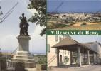 VILLENEUVE DE BERG Ardèche 07 : Statue Olivier  De Serres Vue Générale Halle - France