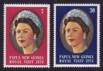 PNG 1974  Royal Visit   Sc 397-8  **  MNH - Papouasie-Nouvelle-Guinée