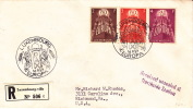 1957  Europa - Pax Mi Nr 572-4  On Recommended Letter To USA  Officially Sealed   By USPS - FDC