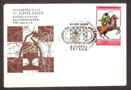 Chess Schach Echecs Ajedrez 3 Elekes International Tourn Hungary 1978 Chess Postmark Zamardi CKM 7822 On Souvenir Cover - Echecs