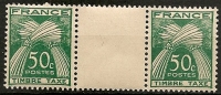 FRANCE - Timbres Taxe N°80 Neufs Sans Charnière En Paire Avec Inter Panneau - 1859-1955.. Ungebraucht