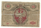 Poland 10 Marek 1917 Tape Removed - RARE - Pologne