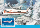 TAROM: Avions, Plane BAC 1-11. Day Romanian Aviation. Commemorative Postcard,timbre Imprime,carte Postale. - 1946-....: Moderne