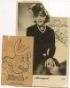 Artiste-  MISTINGUETT Avec  AUTOGRAPHE - Collé Sur Carte Caricature Dans Paris S'amuse (1949) Découpée D'un Journal - Artistes