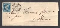 FRANCE 1867 N° 22 Obl. S/Lettre Entiére GC 3816 C à D St. Pol S/Ternoise - 1862 Napoleon III