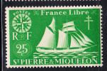St Pierre Et Miquelon MNH Scott #302 25c St Malo Fishing Schooner - St.Pierre & Miquelon