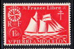 St Pierre Et Miquelon MNH Scott #307 1.50fr St Malo Fishing Schooner - St.Pierre & Miquelon