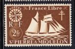 St Pierre Et Miquelon MNH Scott #308 2fr St Malo Fishing Schooner - St.Pierre & Miquelon