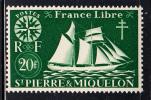 St Pierre Et Miquelon MNH Scott #313 20fr St Malo Fishing Schooner - St.Pierre & Miquelon